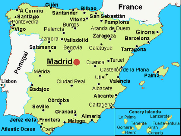 španija mapa CERA Travel International Madrid   Andalucia & Toledo španija mapa
